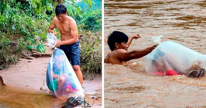 Copii merg la scoala in pungi de plastic
